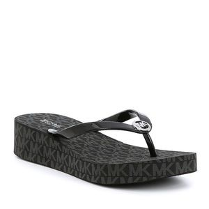Michael Kors black Bedford wedge flip flop 11